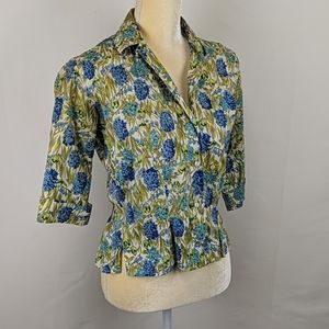 Vtg Lady Hathaway 100% cotton patterned Blouse